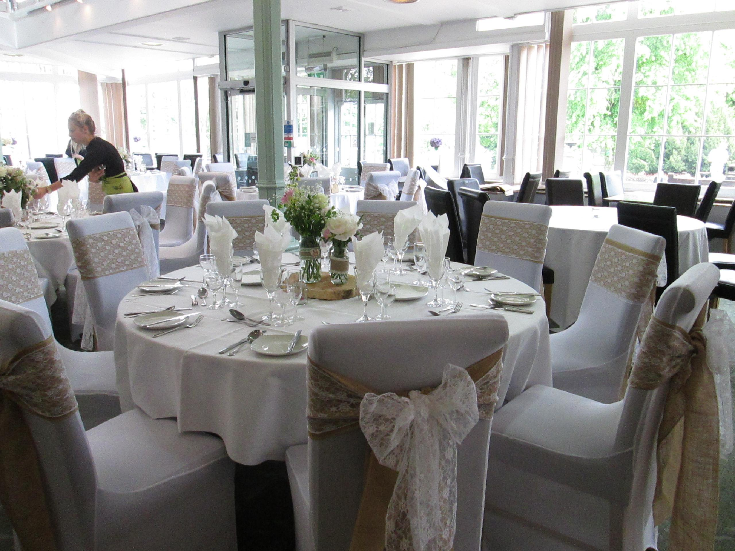 Dressed Table and Chair Cover In Cafe